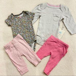 Pink and grey floral NEWBORN bundle